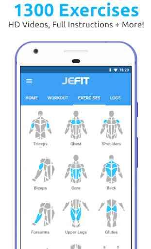 JEFIT Workout Tracker, Weight Lifting, Gym Log App 2