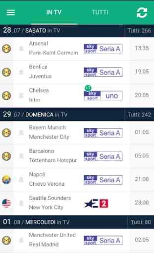 Calcio in TV (programma) e Livescore con notifiche 1