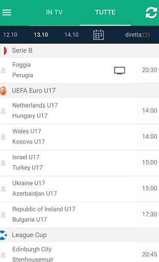 Calcio in TV (programma) e Livescore con notifiche 2
