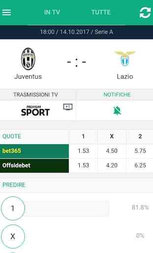 Calcio in TV (programma) e Livescore con notifiche 3