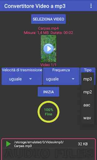 Video in mp3, mp2, aac o wav in gruppo 1