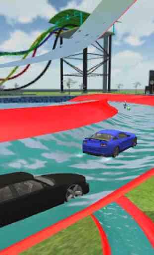 Water Park Car Race : Frozen Aqua Water slide Race 3