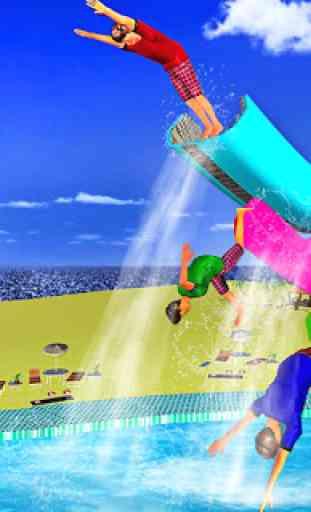 Water Slide Flip Park Uphill Sliding Stunts 4