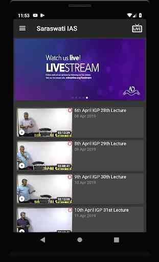 Saraswati IAS Video (Live and on-demand) Classes 3